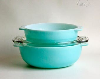 Vintage Retro 50s/60s Two 2 x PYREX Turquoise Aqua Serving Tureen Casserole Dishes with One 1 Clear Glass Lid
