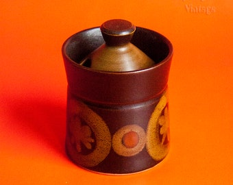 Vintage 1960s/70s DENBY ARABESQUE (SAMARKAND) Covered Mustard/Condiment Pot by Gill Pemberton