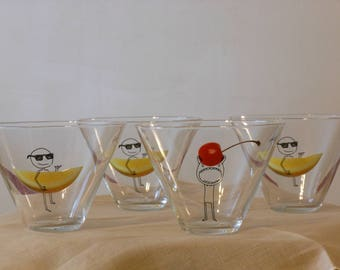 Glass 8 Oz. Cocktail Glasses with Fruit & Funky Figures