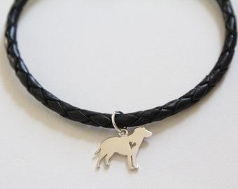 Leather Bracelet with Sterling Silver Labrador Retriever Charm, Labrador Retriever Bracelet, Labrador Charm Bracelet, Dog Bracelet, Dog
