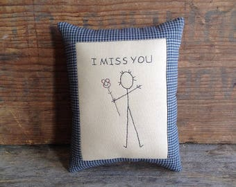 I Miss You Pillow. Hand drawn. Hand-stitched. Hand Embroidery. Miss You Pillow. Miss You Gift. Missing You. I Miss You. Small Pillow.