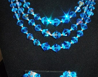 Vintage Triple Strand Sapphire Blue AB Crystal Necklace and Earrings Set