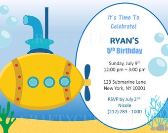 Submarine Birthday Invitation, Submarine Invitation