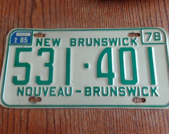 Vintage License Plate New Brunswick 1978 Vintage License Plate New Brusnwick License Plate Vintage 1978