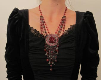 Baroque necklace, red, black, silver