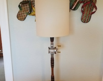 FISHING POLE LAMP, Antique Fishing Rod and Reel Lamp, Coastal Lamp, Beach Lamp, Coastal Decor, Beach Decor, Nautical Lamp, Nautical Decor