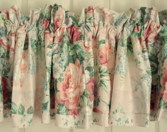 Shabby Valances Pink Rose Cabbage Rose Pink Shabby Cottage Chic Floral Curtains Lined Floral Valances