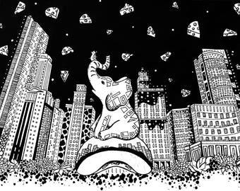 Limited Edition Chicago, Elephant Drawing Print- Signed by Kelsey Montague
