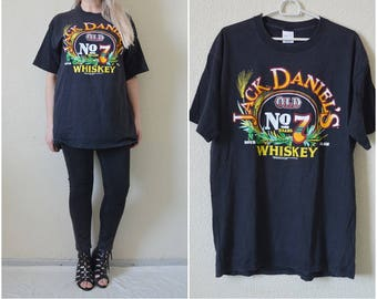 Jack Daniels Tshirt Vintage 90s tee Black Old Sour mash Whiskey cotton Mens Womens Hipster Retro Oversized L Large