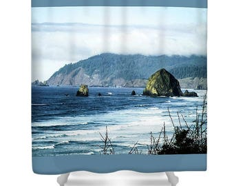 Cannon Beach Fabric Shower Curtain,Bathroom Decor,Designer Shower,Print Shower Curtain,Photography by LindaChambers