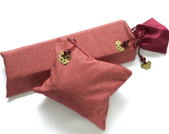 Small Burgundy Mahjong Rack Bag & Tile Bag ~ cotton shell and satin lining ~