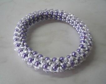 Pearly Beads Bracelet glass and swarovski crystal top