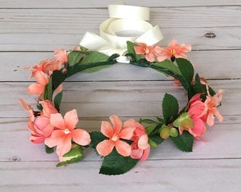 Coral Woodland Flower Crown, Boho Flower Girl, Coral Flower Crown, Peach Flower Girl, Lush Greenery Floral Wreath, Coral Wedding Flower Girl