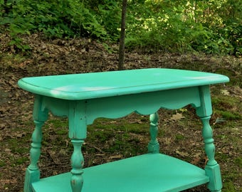 Aqua Side Table / Turquoise Side Table / Colonial Side Table / End Table / Nightstand / Hand Painted Furniture