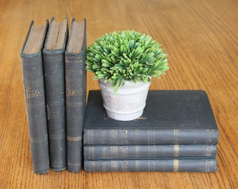 Set of 6 -The Works Of Alexandre Dumas / Vintage Books / Vintage Dumas Book / The Count Of Monte Cristo / Vintage Book Decor