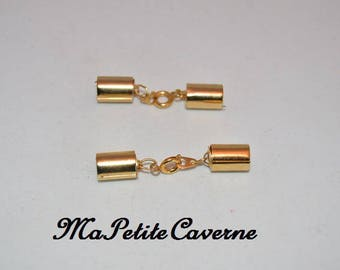 2 gold plated 12 mm x 8 mm caps and clasp