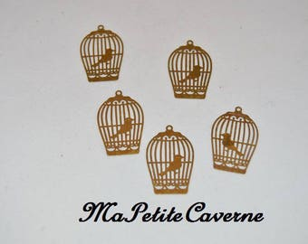 2 prints 30x2mm engraved golden colored brass bird cage