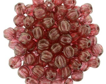 HALO CARDINAL Melon Beads Czech, RED Carved Melon Beads 5mm, Full Strand 50 Beads, Halo Finish Gold Dusted