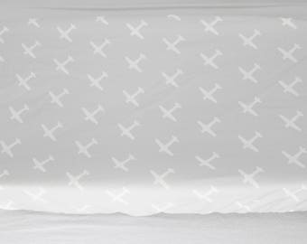 Fitted Crib Sheet or Change Pad Cover - Grey Airplanes