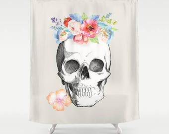 Skull Shower Curtain Floral Skull Beautiful Skull Watercolor Flowers Rebirth Unique