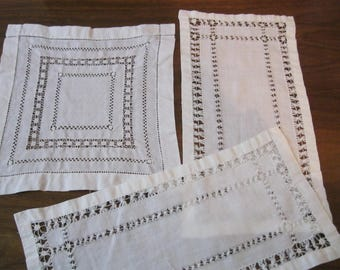 Vintage Linen White Pulled Thread Embroidery Doilies