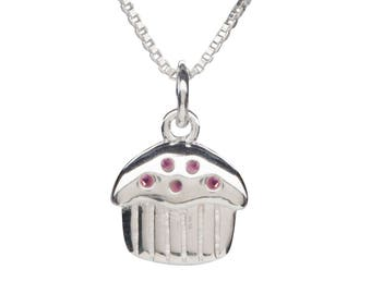 Baby's First Birthday Sterling Silver Cupcake Charm Necklace with Swarovski Crystal  (BCN-Cupcake Pink)
