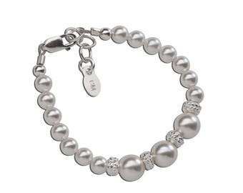 Sterling Silver Swarovski White Pearl with Stardust Accent Bracelet for Girls in Gift Box (Mia)