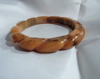 Caramel Swirl BAKELITE Twisted Bangle Bracelet Tested