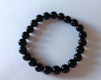 Black Tourmaline 8mm Round Beaded Stretch Bracelet Black Wristband 8""