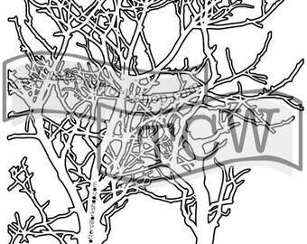 TCW Crafter's Workshop MINI BRANCH 6x6 Stencil Paint Mixed Media # TCW208s
