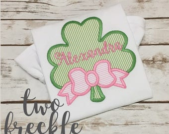 Girls St. Patrick's Day Shirt, Shamrock Bow Shirt
