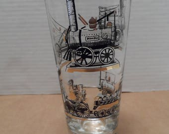 Vintage Gold Trimmed Train Glass