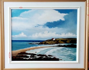 Marine painting of R Biand oil on canvas 16 X 20 with original frame