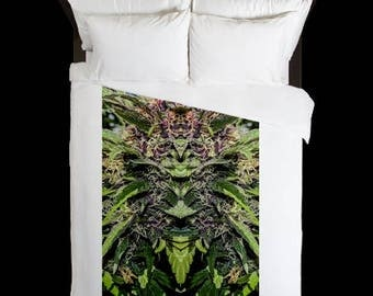 Leaf Duvet Cover, Bohemian Duvet Cover Purple Goo Cannabis Print,Duvet Cover Floral, Leaf Bedding,Hippy Decor, Duvet Cover King