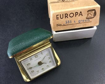 Travel alarm clock ,green folding mechanical ,europa