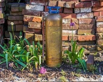 Copper and Brass Soda Acid Fire Extinguisher Vintage Pyrene Guardene Firefighter Decor