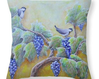 birds on grape vine pillow, winery home decor, grape vine pillow, original painting by Nancy Quiaoit