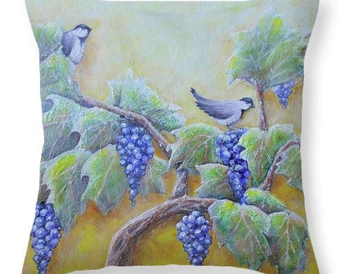 birds on grape vine pillow, winery home decor, grape vine pillow, original painting by Nancy Quiaoit