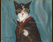Harry Potter Cat and others, variety pack, Note Cards, Hagrid, Dumbledore, Harry, Ron and Diagon Alley, Blank Inside QTY 6