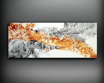 Minimalist Original Abstract Painting, Contemporary Art, Bedroom Art, Abstract Expressionism, Modern art by L Dawning Scott, 16x40 inch