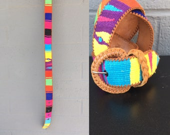 Guatemalan Belt Woven Colorful Leather 26-30 inch waist  yellow pink orange purple