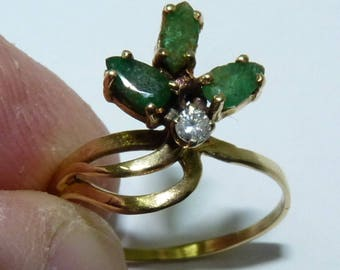 Old Vintage 14k Gold Ring, Set w/ RB Diamond and 3 Emeralds 2 Pear, 1 Marquise