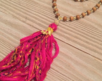 Pink yellow sari silk tassel necklace hand knotted wood beads crystal beads gold bee charm gold leaf charm 48""