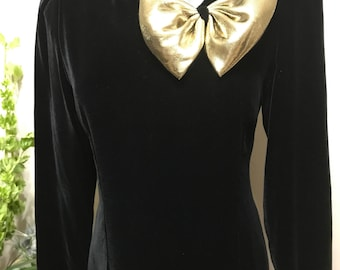 Vintage Halston III Velvet Dress - Halston Velvet Dress with Gold Bow - Halston Party Dress
