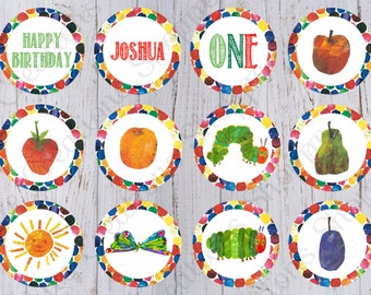 Very Hungry Caterpillar Birthday Party Cupcake Toppers