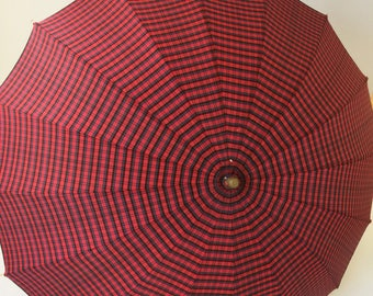 Vintage Umbrella Red Plaid 1940s Clear Lucite Handle