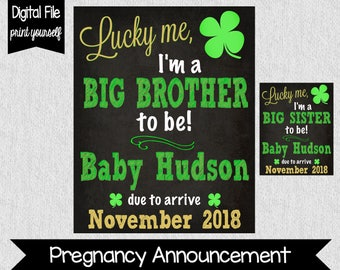St. Patrick's Day Pregnancy Announcement - Big Sister Pregnancy Announcement - Big Brother Pregnancy Announcement - Lucky Me - Sibling to be