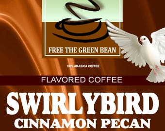 Swirlybird Cinnamon Pecan and Pralines Flavored Coffee. Cinnamon, fresh roasted pecans, and toasted pralines in a wonderful combo. 2oz
