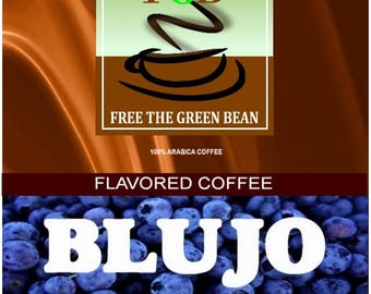 Whole bean, Fresh roasted coffee, BLUJO, Blueberry Creme Flavored Coffee, 2oz Sampler is perfect for one pot of coffee