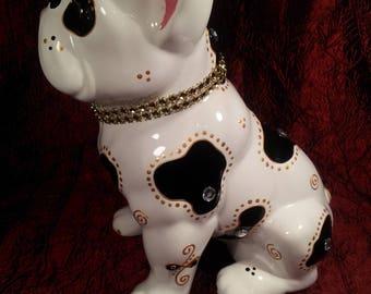 "Statue ceramic Bulldog, ""White"" single, Laure Terrier"